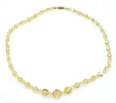 Peach Clear Glass Aurora Borealis Crystal Graduated Bead Beaded Necklace - $29.69