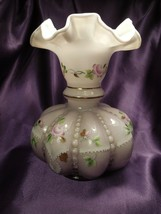 Fenton Purple Opalescent Hand Painted Floral Beaded Detail - $74.25