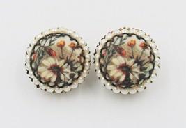 Vintage West Germany Sugar Bead Flower Floral Clip-On Earrings - $9.89