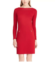 Women's Chaps Ponte Sheath Red Dress NEW $110 - $27.99