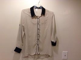 XHILARATION Sheer Beige w Blk Collar Button Up Blouse Sz XL