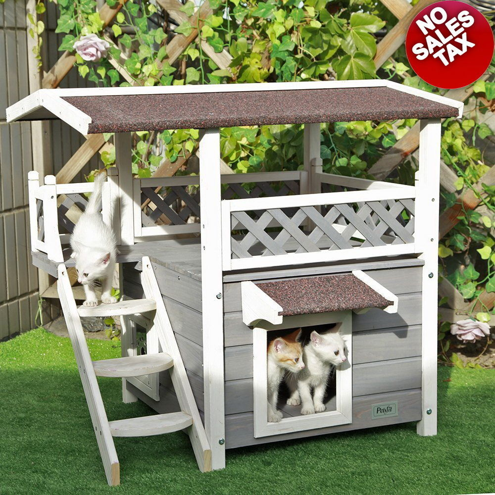 Used, Cat Houses For Outdoor Feral Cats Backyard Shelter Condo Kitty Kennel Furniture for sale  USA