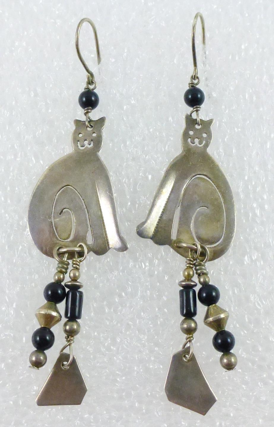 Primary image for Sassi La Muth CAT in Sterling Silver with Black Glass Beads Drop Dangle EARRINGS