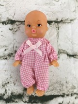 """Vintage Baby Doll 70's Pink Romper Bald 6"""" Rubber High Quality - $11.88"""