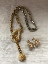 Estate Demi Chunky Goldtone Chain w Large Clear Rhinestone Encrusted Ope... - $10.39