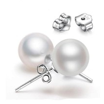 Natural Freshwater Pearl Stud Earrings For Women Cute Round 925 Sterling... - $9.16