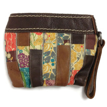 FOSSIL Patchwork Leather Wristlet Zip Close, Walle,t Handbag, Purse, Clu... - $21.96