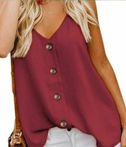 Vriety Trend Women Size L Red Spaghetti Strap Buttoned Tank Top (US 12-14)L - $23.89