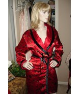 Lipstick Red Asian Print Reversible Quilted Satin Wrap Robe Lingerie XS/S - €20,33 EUR