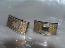 Vintage Swank Signed Etched Tricolor Curved Rectangle Cuff Links with Sp... - $12.19