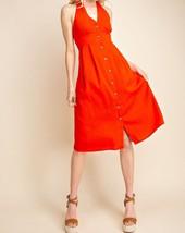 Red Halter Top Dress, Red Button Up Dress, Halter Top Dress, Womens image 2