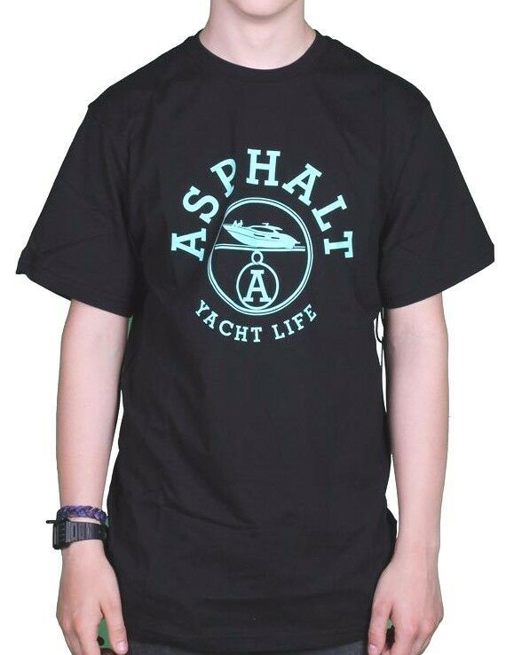 Asphalt Yacht Club Noir Hommes Menthe Paris Vie T-Shirt AYC1520894 Nwt