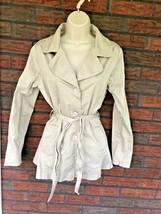 Vintage Trench Coat Medium Light Brown Beige Tie Waist Buttons Collar Po... - $19.60