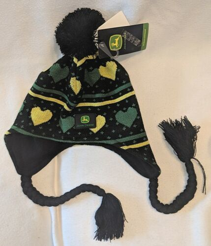 John Deere LP47334 One Size Black Stocking Cap With Green And Yellow Hearts