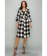 Black & White Checkerboard Coat - £21.81 GBP