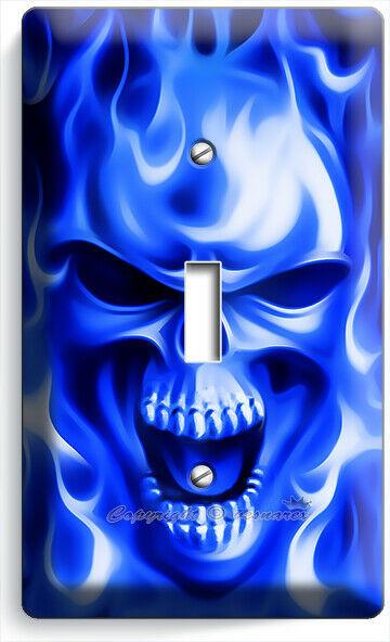 BLUE FLAMES BURNING SKULL 1 GANG LIGHT SWITCH WALL PLATE BIKER MAN CAVE HD DECOR