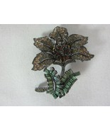 Nolan Miller Fashionable Flower Pin Brooch Green and Amber Crystals - $128.69