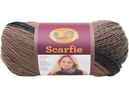 Lion Brand Scarfie Yarn in Taupe/Charcoal, Bulky 5