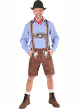 Deluxe Oktoberfest Lederhosen , Austrian / German , Brown / Blue - $62.99