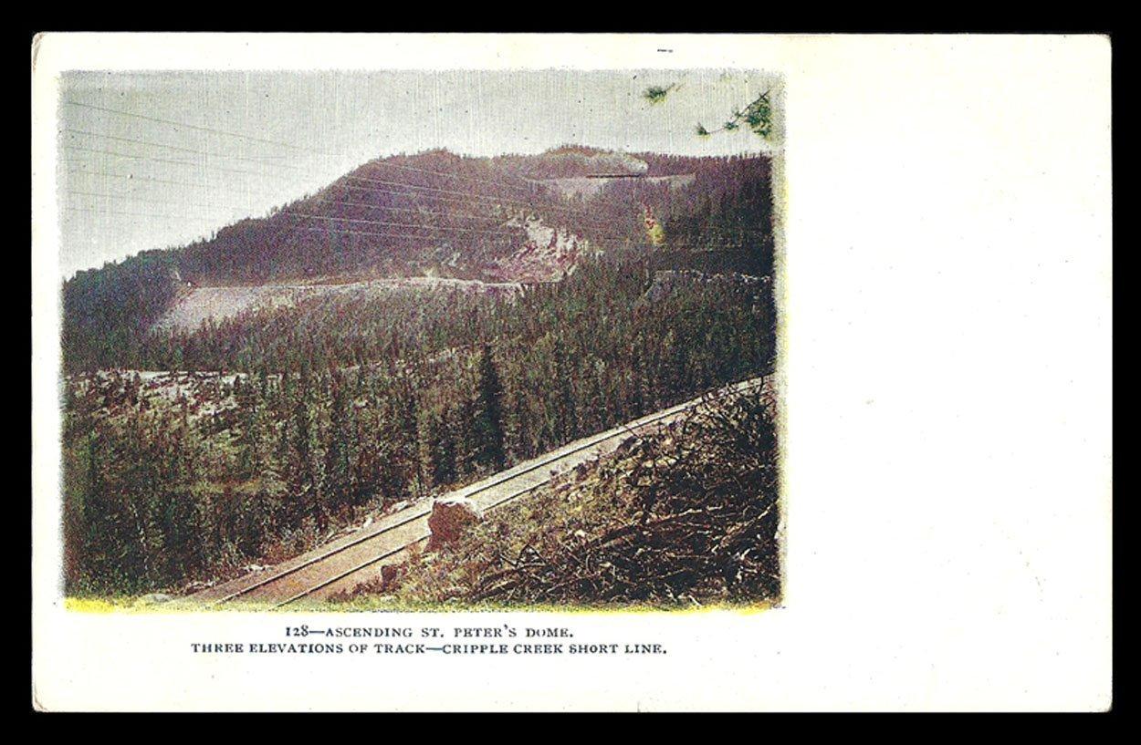 St Peters Dome Postcard Colorado Cripple Creek Railroad Track Short Line Embosse