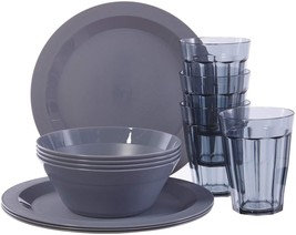Cambridge Plastic Plate, Bowl and Tumbler Dinnerware | 12-piece set Grey - $27.00