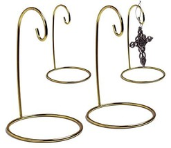 BANBERRY DESIGNS Gold Ornament Stand - Set of 4 Brass Metal Wire Ornament Stands