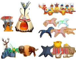Playmobil LOT Native American Camp Teepee Canopy Horses Buffalo Papoose ... - $64.95