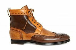 Superior Brown Tan Two Tone Leather High Ankle Men Lace Up Customized Boots - $149.99+