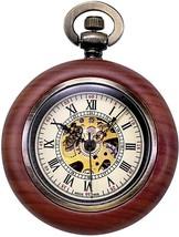 TREEWETO Vintage Wood Mechanical Pocket Watch For Men Women Steampunk Skeleton - $73.01