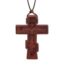 Red Black Wood Cross Necklaces for Men Adjustable Leather Rope Chains Re... - $16.33