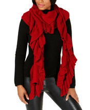 Ralph Lauren Ribbed Ruffle Scarf (Bright Red) - $51.30