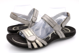 Abeo Womens 12N Silver Brynn 3715 Adjustable Strap Comfort Leather Sandals - $34.99