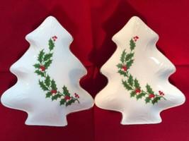 Tree Shaped Porcelain Trinket Dishes Christmas Holiday Holly 1986 Set Of 2 - $9.50