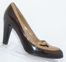 Lauren Ralph Lauren brown tan two tone slip on brogue mary jane heels 7M - $33.34