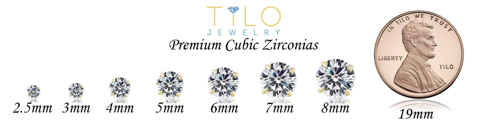 14k White Gold Solitaire Round Cubic Zirconia Stud Earrings with Gold butterfly  image 5