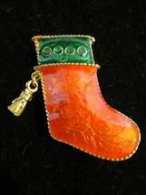 Signed Gio Goldtone Red & Green Enamel Christmas Stocking Holiday Brooch... - $7.76