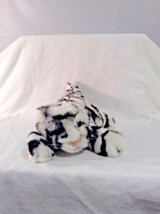 "Manhattan Toy Plush white Black Tiger Cub 1996 10"" Sitting Stuffed Anima... - $12.20"