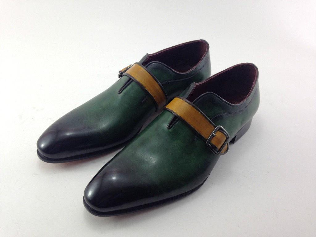 Handmade Men's Green Burnished Monk Strap Dress Formal Leather Shoes