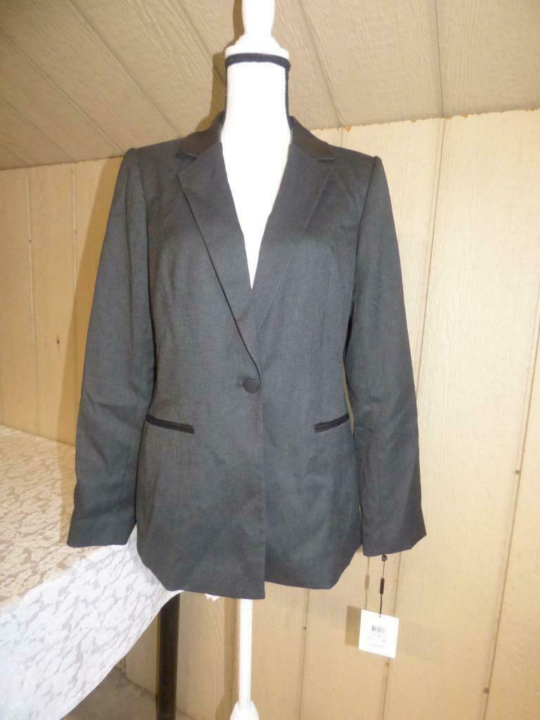 Primary image for $139.00 Calvin Klein Faux Leather Collar Trim Blazer, Charcoal, Size 10
