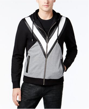 $65 INC Men's Colorblocked Hoodie with Faux Leather Piecing, Deep Black, XL - $29.69