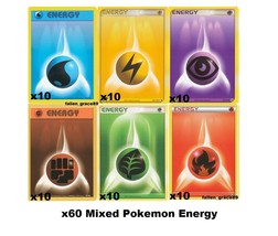 (60) Mix Pokemon Energy Cards Bundle Set! Fire, Water, Electric, Psychic... - $9.85