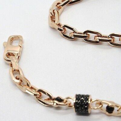 Armband Gold Pink 18K 750, Röhren mit Zirkonia Schwarze und Ovale Abwechselnde, image 3