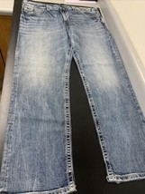 Mens Silver Co 'Eddie' Straight Leg Mid Blue Stretch distressed Jeans 38... - $24.94