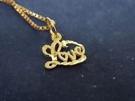 VINTAGE .925 STERLING NECKLACE W/GOLD TONE & 14K GOLD LOVE PENDANT 2.31g... - $50.00