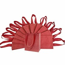 """6x3x8"""" 12 Pcs. Small Metallic Red Reusable Glitter Gift Bags with Handle... - $19.43"""
