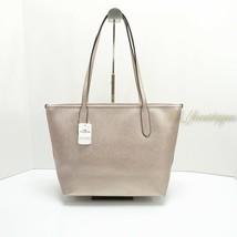 NWT New Coach F88067 Zip Tote Handbag Purse Leather Metallic Platinum Go... - $108.95
