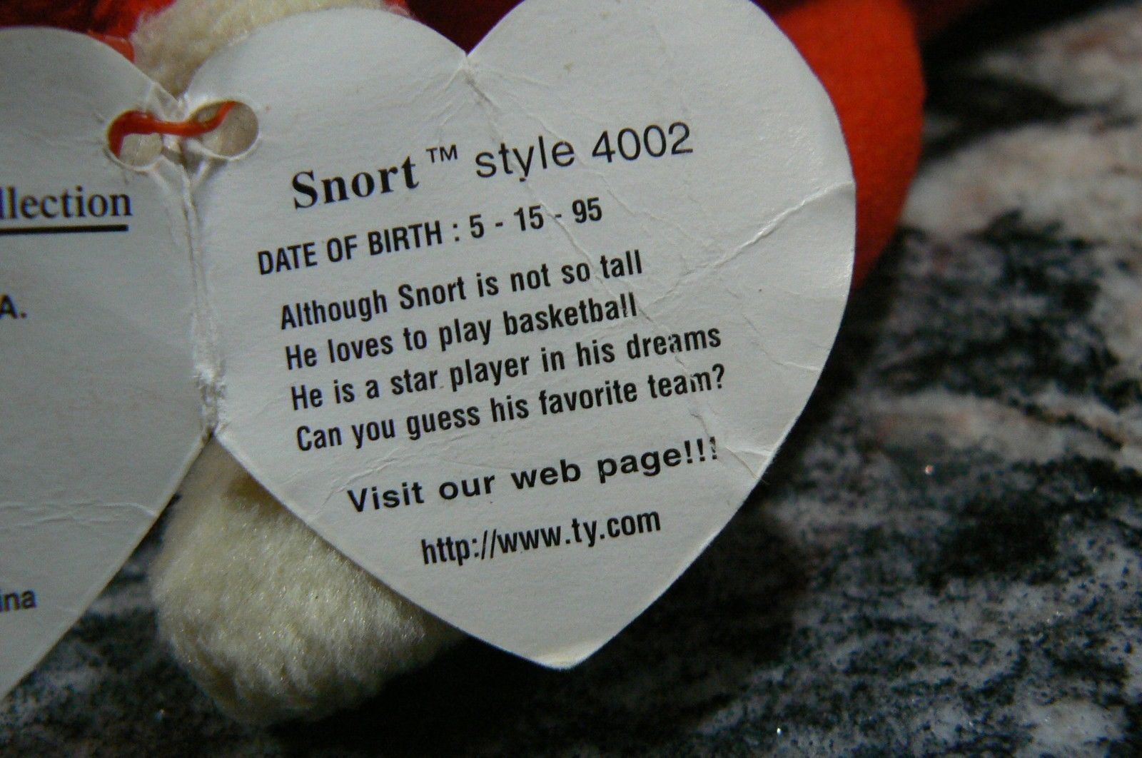 "Vintage Ty Beanie Babies Snort "" The Bull "" Hang Tag/Tush Tag 1995 PVC Pellets image 8"