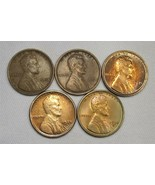 Lincoln Wheat Cent Coin Lot of 5 1909-1934 AG165 - $51.21