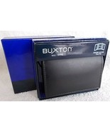 Men's Buxton Trifold 100% Leather Wallet, Black, New In Box, Style 19980 - $9.99