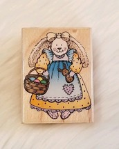Country Bunny Rubber Stamp Easter Basket Hero Arts D1222 Wood Mounted Vtg. 1996 - $3.67